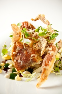 soft shell crab, Chef Chris Lee, Chris Lee, Chef Lee Plating