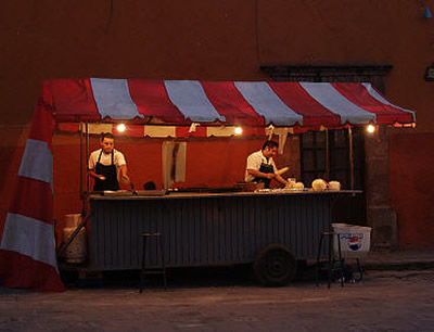 night food, food cart, san miguel de allende