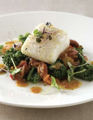 Charlie Trotter Recipe, Olive Oil-Poached Cod with Roasted Tomatoes and Broccoli Rabe, Charlie Trotter cod