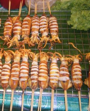 thai street food, squid,thailand food